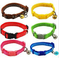 Wholesale 2016 Polka Dot Print Nylon Dog Puppy Cat Collar Colors Pet Products WJIA010