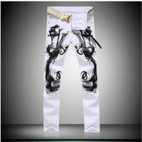 Precio de Los pantalones más el tamaño 24-2017 Moda Otoño blanco impreso jeans para hombres de alta calidad elástico Vaqueros ajustados pantalones ocasionales de los hombres más el tamaño de ropa vaquera para hombre global