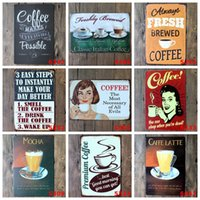 Wholesale 2pcs COFFEE Metal Tin Sign Vintage Decorative Metal Painting Wall Arts Bar Home Decor Crafts Retro Tin Poster