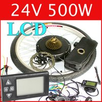 Wholesale 24V W LCD Electric Bike Disc brake kit DC hub motor conversion kits ebike kits Front wheel or rear wheel