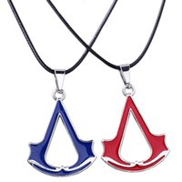 baked pears - 12pcs punk Assassin s Creed Badge mark black blue red Duplex Double Sided baking Paint Pear shaped Arrow pendant necklace men x344
