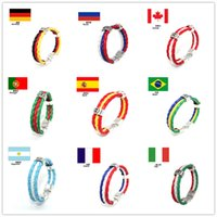 olympic flag - 2016 New Hot National Flags Bracelets Olympic Games World Cup Fans Braided Rope Charms Bracelets Unisex Pu Leather Bracelet
