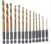 Wholesale 13pcs HSS Hex Shank High Titanium Nitride Speed Steel Drill Bit Set Titanium Coated Quick Change Twist Drill Bits Set mm