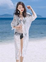 a9632d4941 Women summer beach bikini cover ups long lace-up Cardigan blouses lace  Crochet sunscreen bohemian seaside hollow out holiday shirt swimwear
