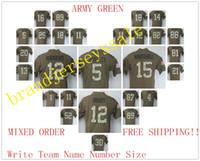 Wholesale New ARMY GREEN MEN Rodgers MONTANA BROWN WATT Brady Witten BRYANT Football jerseys Salute To Service