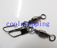 Wholesale A shape Barrel Swivel Solid Rings Fishing Connector With Interlock Snap HB88
