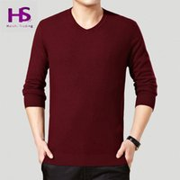 australian sweaters - New Winter Warm Soft Sweater Men Top Quality Australian Wool Sweaters All match Solid Color V Neck Cashmere Pullover T