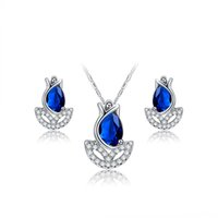 Wholesale fashional genuine white gold plated jewelry set includes earring and necklace