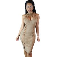 Cheap 2016 Summer Style Halter Bodycon Women Dress Solid Sassy Nude Suede Caged Design Dress Sexy Mini Club Dress