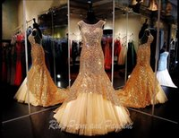 beaded dress fabric - Sexy Gold Mermaid Pageant Dresses Sequined Fabric Sheer Jewel Neck Evening Gowns Cheap Long Red Carpet Party Formal Prom Evening Dress Gown