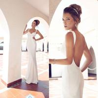 Wholesale Silver Satin Wedding Reception - Sexy Julie Vino Wedding Dresses Sheath 2016 Modest Backless Bridal Gowns Plus Size Vestidos Reception Dress