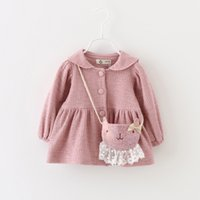 bag outerwear - Sweet Baby Girls Long Collar Coats Spring Kids Clothing for Boutique Korean Little Girls Cute Outerwear with Lining and Bag