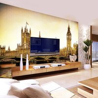 ancient architecture - Custom Large Mural London Ancient Architecture Continental Hand painted Big Ben Bridge Sofa TV Backdrop Wallpaper For Walls D