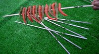 barbeque tools - Stainless Steel Flat Barbeque Stick BBQ Kebab Skewers Roasting Needle with Antislip Design for Barware Bar BBQ Tools
