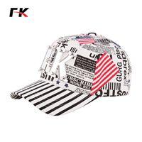 adult newspapers - FK baseball cap newspaper print USA flag hip hop caps America casual high quality fashion sun hat striped visor cured Truck cap