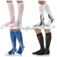 Wholesale 4 Colors Unisex Compression Stocking Protect Feet Breathable Wicking Compression Socks Running Basketball Football Sport Sock Z468 B