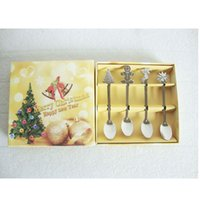 Wholesale Cutlery Set Flatware Stainless Steel Tea Spoon Set Christmas Designs Spoon with cm Leigh mm Thickness Christmas Gift
