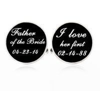 Wholesale Custom Photo cufflinks Father of the Bride Cufflinks Silver Plated Gifts for Dad Wedding Cufflinks l loved her first Cufflinks
