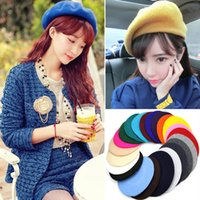 Wholesale Fedex Free ship New Pretty Girls Wool Berets Many colors Fashion Women Fashion Wool Warm French Beret Hats Ladies Berets Girls Wool Caps