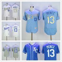 baby baseball jerseys - 2016 Flexbase MLB Kansas City Royals Salvador Perez Jersey KC Baby Blue Grey Gold Letter