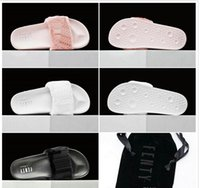 beach sandals original - Send With Original Boxes Leadcat Fenty Rihanna Shoes Women Slippers Indoor Sandals Girls Fashion Scuffs Pink Black White Grey Slide