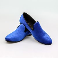 Wholesale Harpelunde Blue Velvet Wedding Shoes For Men Leather Lining Red Bottom Sole US Size
