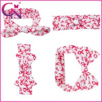baby cancer - 15 Cotton Stylish inch Printed Hair Accessories Handmade Twist Knot Head Wrap Breast Cancer Awareness Headband For Baby Girl