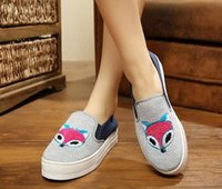 applique towel - new autumn women shoes towels Female fox Student shoes casual shoes Beijing cloth shoes flat woman canvas shoes