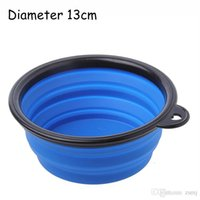 Wholesale 13 cm Dog Travel Bowl Feeder Pet Foldable Watering Feeding Food Collapsible Dog Bowl Pet Cat Eating Bowl With Handle Silicone Dog Bowl