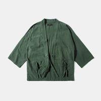 Wholesale Fall Men Jacket Japan Harajuku Kimono Casual Army Jacket Judo Jacket Half Sleeve Coat Streetwear Fashion Men Clothing