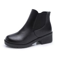 Wholesale PP FASHION Womens Korean Style High Heeled Platform Genuine Leather Round Toe Ankle Boots