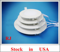 Wholesale Stock in USA LED flat light round recessed ceiling LED panel lamp light W W W W W W AC85 V SMD2835 CE
