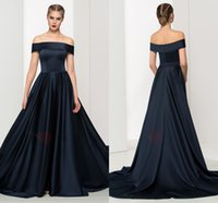 art deco portraits - Royal Navy Prom Dresses Off the shoulder Short Sleeves A Line Satin Long Cheap Evening Party Formal Pageant Dress Gown Custom