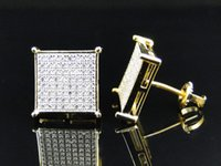 big gold earrings hip hop - 2016 square high quality hip hop bling micro pave cz k yellow gold screwback big mens earring