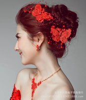 Wholesale Bride Hair Lace Accessory Fashion Red Handmade Wedding Hairpin Animal Butterfly White Hair Jewelry