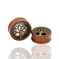 Wholesale Pair Wood Brass Tree of Life Flesh Tunnels Expander Ear Gauges Earring Plugs