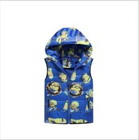 Wholesale Kids Minions Vest Minion Waistcoat Despicable Me Cotton Jacket Vest Waistcoat Zip Jacket Sleeveless Outwear Vest Cartoon Waistcoat A1141