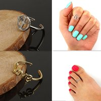 Wholesale Women Toe Rings Simple Love Peace Symbol Midi Finger Ring Unique Gold Silve Knuckle Rings Foot Jewelry Summer Beach Stylish Body Jewellry