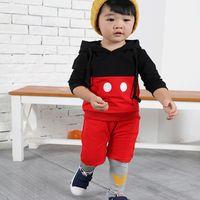 bebe outerwear - Winter Fiesta Suit Set Cartoon Stripe Mouse Hoody Tops Outerwear Pants Jumper Costume For Minnie Bebe Infantis Baby Kid Boy Girl