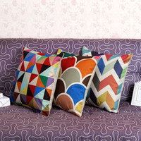 Wholesale 5 Styles Cushion Cover Colorful Geometric Triangle Feather Patchwork Cotton Linen Throw Pillow Case Cushion Home Decor
