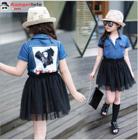 short dress with jeans - 2016 New Arrival Girls Summer Jeans Dress With Black Lace Net Yarn Skirt Cute Girl Cowboy Stitching Dresses Children Princess Dress