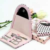 Wholesale 300Sets Pink Polka Dot Purse Bag Clipper Pedicure Manicure Set Kit Tools Finger Nail Clippers Scissors Tools LLA80