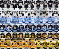 Wholesale Pittsburgh Penguins Sidney Crosby Jerseys Ice Hockey Throwback Kris Letang Evgeni Malkin Phil Kessel Mario Lemieux Black