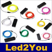 Wholesale 3M Flexible EL Wire Tube Rope Battery Powered Flexible Neon Light Car Party Wedding Decoration With Controller
