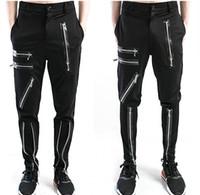 Wholesale 2016 Brand New Jogger Pant With Zipper Slim Fit Black Casual Zip Trouser Sale