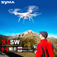 Wholesale SYMA X5SW X5SW WIFI RC Drone Quadcopter with FPV Camera Headless Axis Real Time RC Helicopter Quad copter Toys