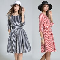 Wholesale Europe station Hitz fashion print dress and long sections Slim striped skirt a word