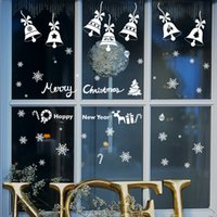 background snowflakes - Fashion Christmas snowflake bells wall stickers classroom glass window background decorative painting environmental wall stickers