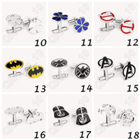Wholesale 300pair CCA3850 High Quality Designs Vogue Cufflinks Superman Star Wars Deadpool Spiderman Cufflinks Mens Jewelry Metal Alloy Cuff Link