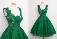 al por mayor vestido de novia corto moderna-Vestidos de fiesta del verde esmeralda New corto 2016 de la bola moderna vestidos de dama de honor formal para la boda vestido de cóctel de longitud de baile de la rodilla de encaje completa